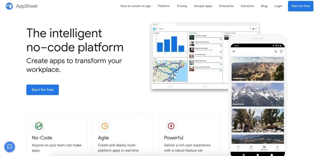 AppSheet web development tool