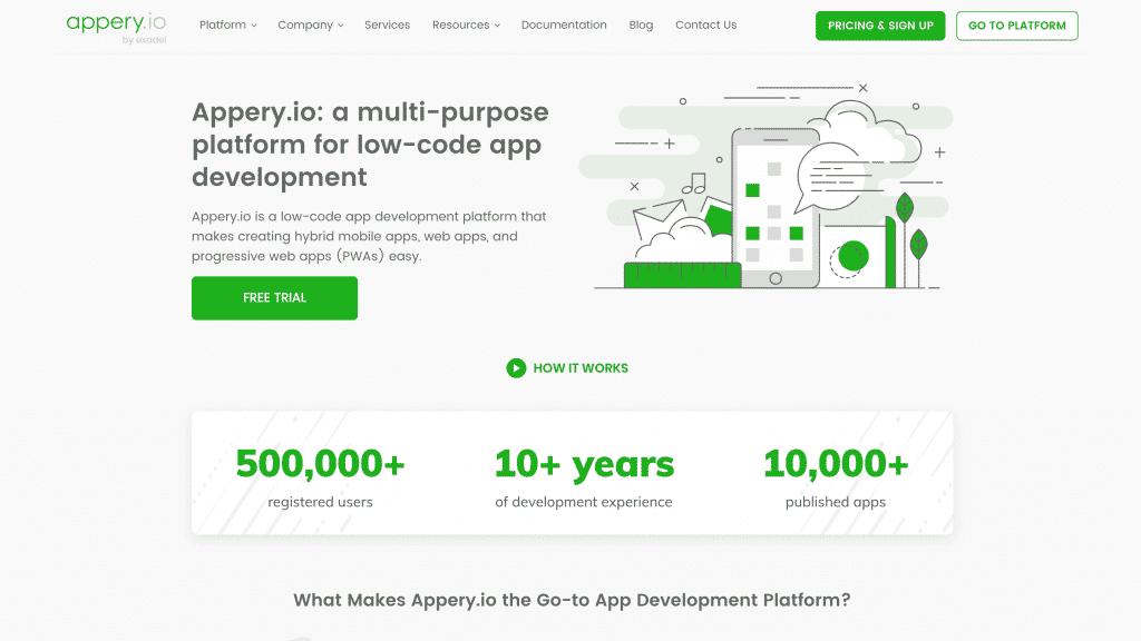 Appery web development tool