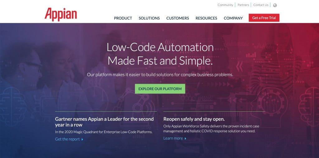 Appian web development tool
